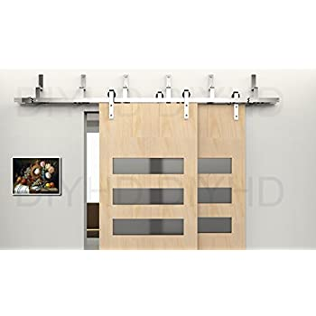 this item diyhd 557ft stainless steel bypass sliding barn door hardware wall mount bracket for bypass wood door