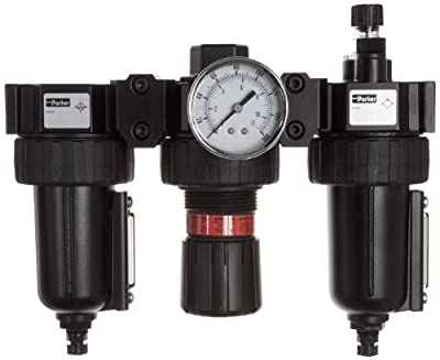 """Parker 06B28A18A4BC Three-Unit Combo Compressed Air Filter/Regulator/Lubricator, 3/8"""" NPT, Metal Bowl with Sight Gauge, Auto Float Drain, 40 Micron, 60 scfm, Relieving Type, 2-125 psi Pressure Range, Gauge"""