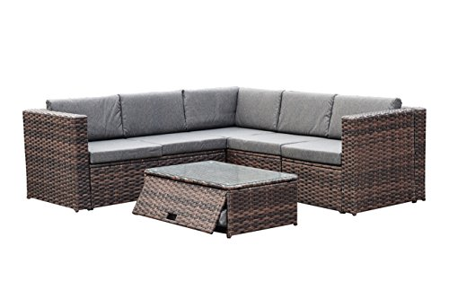 YEEFY Outdoor Patio Furniture Sets PE Rattan Sectional Sofa 6 PC Cushions & Modern Glass Coffee Table ()