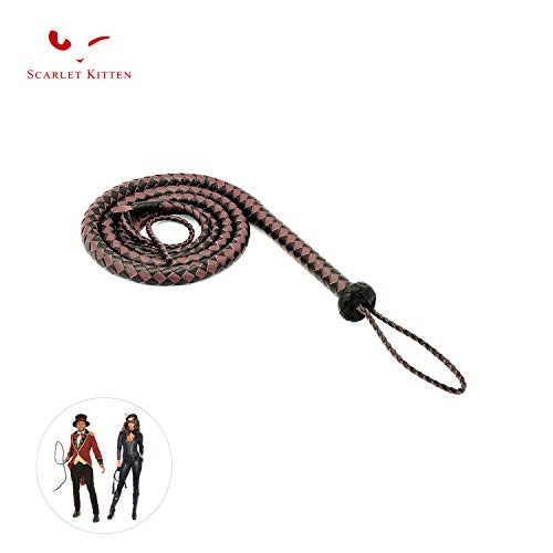 SCARLET KITTEN Cowboy Whip Cat Woman Long Whips Costumes Supplies for Halloween Costume Accessories 5.3ft/1.6m, Black & Brown]()