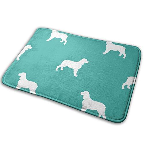 Mascin Doormat Custom Entrance Non Slip English Springer Spaniel Dog Silhouette Turquoise_716 Door Mat Indoor/Outdoor 16 x 24 Inch,40 cm x 60 cm