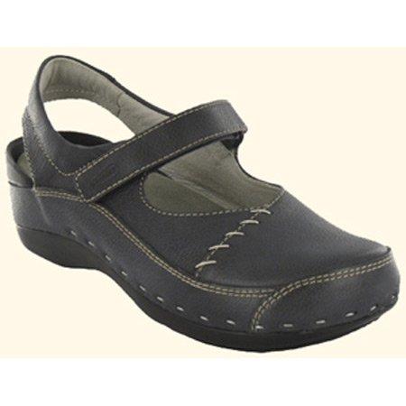 Wolky Mujeres Strap-cloggy Flats Zapatos De Cuero Azul Marino