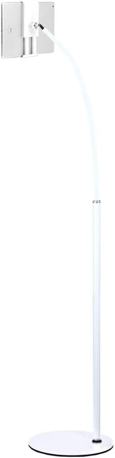 Tablet Floor Stand Cell Phone Stand 360°Rotating Height-Adjustable with Gooseneck and Stable Base for iPad Within 3-10.6 Inches (White)