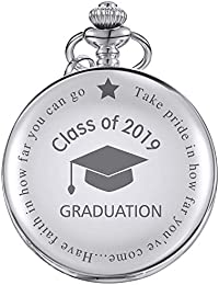 Pocket Watch Class of 2019 Graduation Gift Personalized Engraved Graduation Gift with Storage Box (Silver)