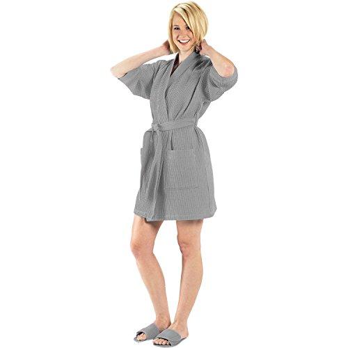 Terry Town RW1019-Gray-OS Thigh Length Waffle Weave Kimono Robe, One Size, Gray (Square Waffle Robe)