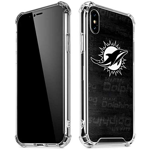 Skinit Miami Dolphins Black & White iPhone XR Clear Case - Officially Licensed NFL Phone Case Clear - Transparent iPhone XR Cover - Miami Dolphins Black Face