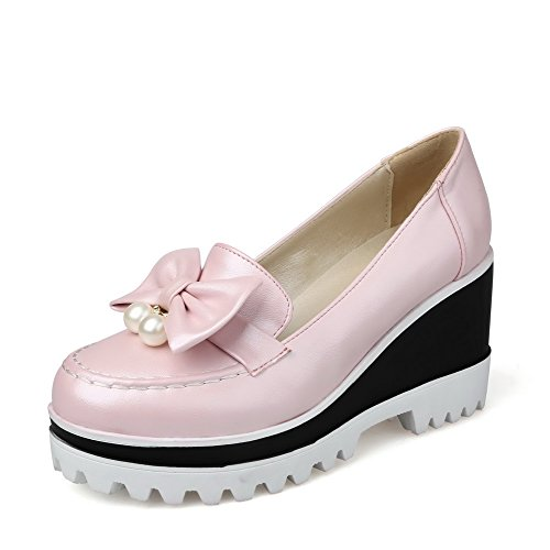 AmoonyFashion Womens Round Closed Toe Pull On Pu Solid High Heels Pumps-Shoes Pink oAZnTLj