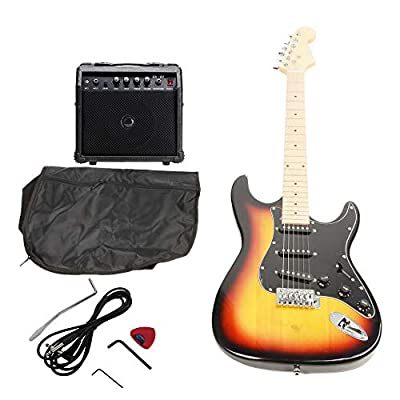 ISIN Full Size Electric Guitar for Music Lover Beginner with Amp and Accessories Pack Guitar Bag