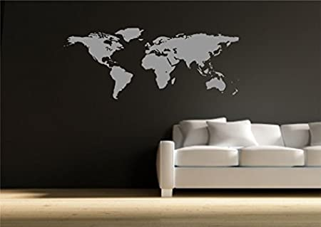 World map atlas wall sticker quote decal transfer mural stencil art tattoo wsd590