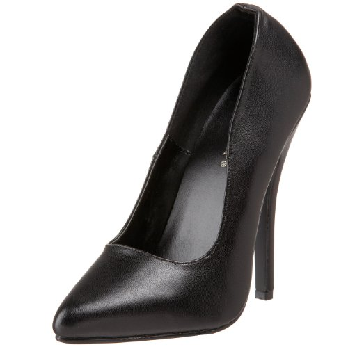Pleaser Women's Domina-420 Pump,Black Leather,15 M US - 420 Black Leather