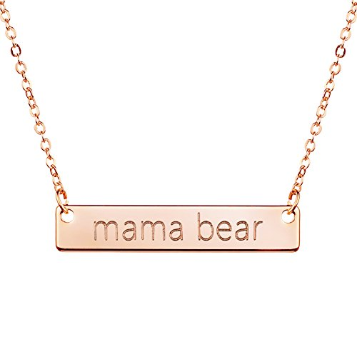 Mama Bear Necklace Gold Silver Rose Gold Mom Necklace Bar Necklace Mother's Day Gift Jewelry for Mom (Rose Gold)