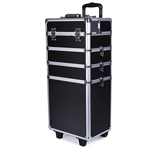 TopWigy 4 in 1 Professional Aluminum Rolling Cosmetic Makeup Train Cases Multifunction Artist Trolley Makeup Box Beauty Train Case Cosmetic Organizer with Shoulder Straps (Black) by TopWigy