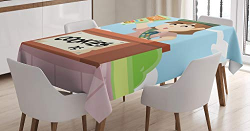 Lunarable Cartoon Tablecloth, Bake Sale Illustration with a Girl Selling Cookies Colorful Illustration, Dining Room Kitchen Rectangular Table Cover, 52 W X 70 L Inches, Multicolor]()