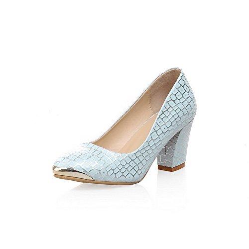 AgooLar Damen Weiches Material Spitz Zehe Hoher Absatz Ziehen auf Rein Pumps Schuhe, Silber, 40