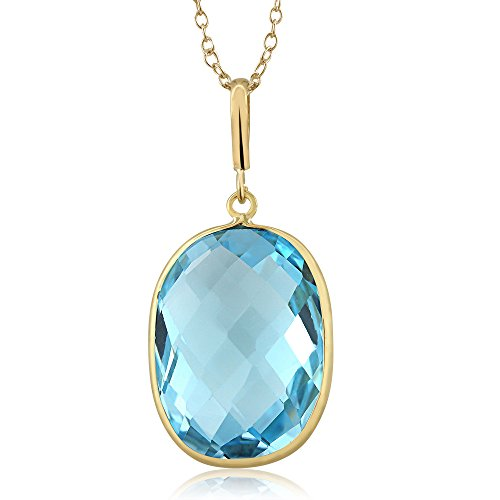Gold Natural Stone Pendants - 10.00 Ct Blue Topaz Cushion Cut 14K Yellow Gold Pendant with 18