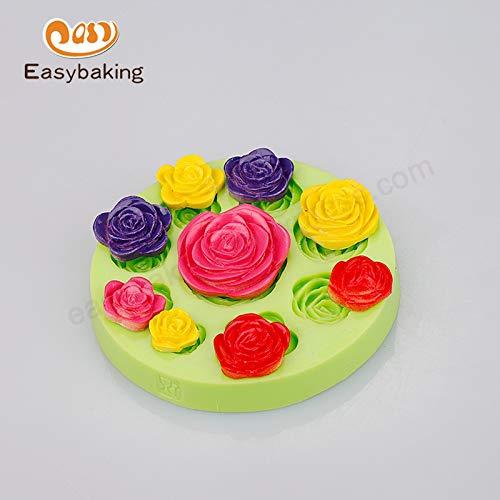 1 piece Silicone Gumpaste Mold Cake Decoration Peony Rose Shaped Candle Craft Flower Making Soap Mold