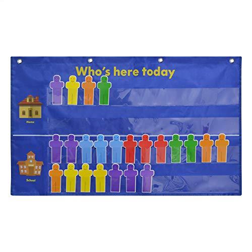 Attendance Pocket Chart,Pocket Chart for Classroom, Blue
