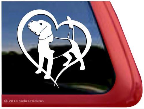 Beagle Love Dog Vinyl Window Auto Decal - Beagle Sticker For Car