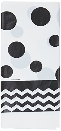 Creative Converting 720060 Chevron & Polka Dots Celebrations Plastic Tablecover, 54 by 108