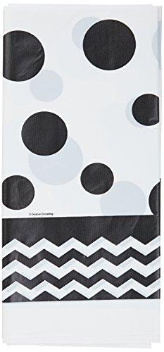 Creative Converting 720060 Chevron & Polka Dots Celebrations Plastic Tablecover, 54 by 108, Black Velvet
