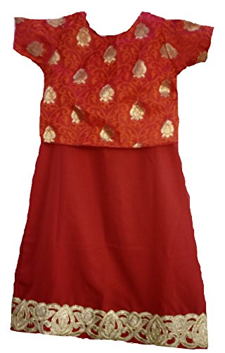 14-18 Month Baby Girl RED Unique Indian Silk Full Length Ethnic Dress (Gift For 1 Year Old Baby Girl Indian)