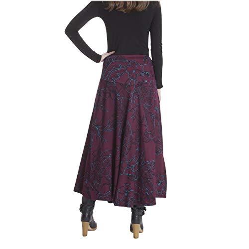 LE Jupe Longue M Noir ORANGE de Femme Jersey Coton imprime Bordeaux MOON S rwxrp