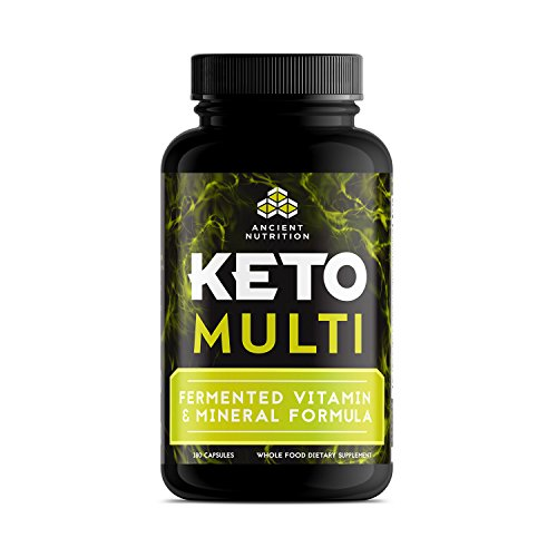 Ancient Nutrition KetoMULTI Vitamin and Mineral Supplement, 180 Capsules — Daily Multivitamin Designed for the Keto (Multi Enzyme Complex 180 Capsule)