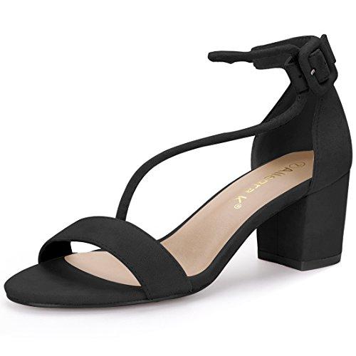 Block Heeled Strap Sandals Cross Open Allegra Black Women Toe K 0xwqYHZBa