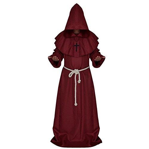 Halloween Friar Medieval Hooded Monk Adult Costume Priest Robe Tunic Hoodies Cosplay Capes (Spanish Jesus Halloween Costume)