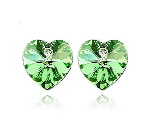 Heart Shaped Swarovski Element Crystal Stud Earrings Fashion Jewelry for Women (Green)