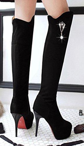 Aisun Womens Sexy Pendant Round Toe Platform Size Zipper Dress Stiletto High Heels Over The Knee High Tall Boots Shoes Black Cm3fG7