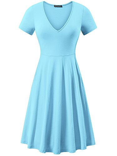 FENSACE Womens Fit and Flare Knee Length Dorothy Costume SkyBlue (Wonderland Pink Dress In Alice)