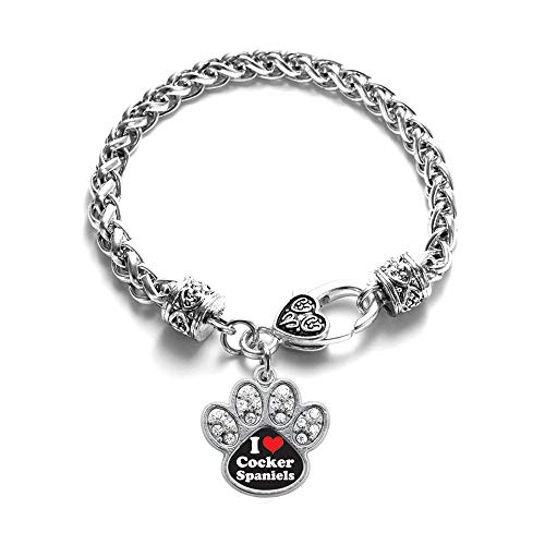 - Inspired Silver - I Love Cocker Spaniels Braided Bracelet for Women - Silver Pave Paw Charm Bracelet with Cubic Zirconia Jewelry