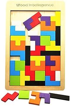 babyGreen Puzzle Tetris de Madera, Tangram Jigsaw Rompecabezas Madera Juego Educativo Brain Teaser Toy, Colorido de Madera Geometría Rompecabezas para Niños Regalos: Amazon.es: Juguetes y juegos
