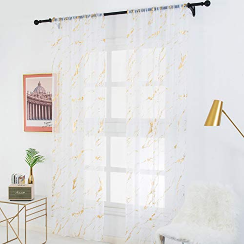 Beyonds Sheer Curtains Panels for Livingroom, ♥ Breathable Window Kitchen Shower Curtain 79x39 inch, Marble Ventilation Insulation Voile Treatment Patio Door Drapes