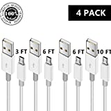 Micro USB to USB 2.0 Charging Cable, Android Phone Fast Charger Cord Long Length for Samsung Galaxy S7 Edge/S7/S6 Edge/S6, Note 5/4/2, HTC, LG G4, BlackBerry, Motorola, Sony (WHITE4, 3 6 6 10 FT)