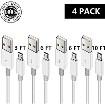 Micro USB to USB 2.0 Charging Cable, Android Phone Fast Charger Cord Long Length for Sumsung Galaxy S7 Edge/S7/S6 Edge/S6, Note 5/4/2, HTC, LG G4, BlackBerry, Motorola, Sony (WHITE4, 3 6 6 10 FT)