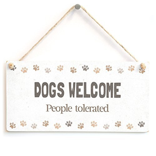 Funny Decorative Plaque Signs Dogs Welcome People Tolerated Funny Dog Humour Wood Hanging Sign for Home House Door - Welcome Plaque