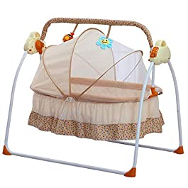Wanlecy Electric Baby Crib Cradle Auto Swing Rocking Cot Infant Sleeping Basket with Music and Toys Newborns 0-18 Months (Khaki)