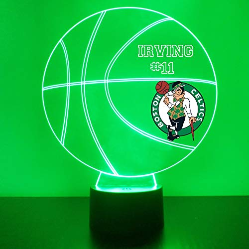 Celtics Lamp (Mirror Magic Store Celtics Basketball LED Night Light with Free Personalization - Night Lamp - Table Lamp - Featuring Licensed Decal)