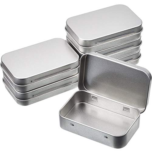 Shappy 6 Pack 3.75 by 2.45 by 0.8 Inch Silver Metal Rectangular Empty Hinged Tins Box Containers with Lid Mini Portable Box Small Storage Kit, Home Organizer