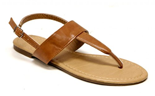 Love Mark Iris-100X Women's summer buckled ankle strap T-strap thong PU sandals Tan 7.5