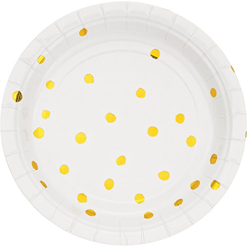 White and Gold Foil Dot Dessert Plates, 24 ct