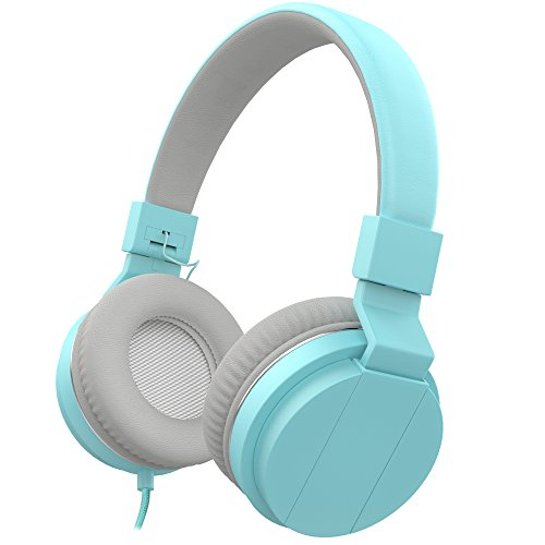 On Ear Headphones, Vomercy Kids Headphones for School Wired Headphones Lightweight Headphones Music Foldable Headphones Blue Headphones with Mic