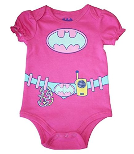 (DC Comics Batgirl Baby Girls Bodysuit One Piece Dress Up Outfit Pink 24)