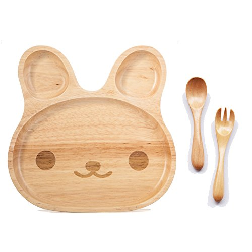 TAMUME Wooden Food Tray for Kids Children Wooden Dish Plate for Baby with 3 Compartment Wooden Bowl Ideal for Children Breakfast Serving Platter or Snack Container (Cutie)