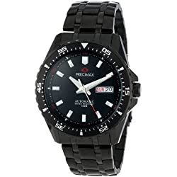 Precimax Men's PX13203 Vintage Automatic Black Dial Black Stainless-Steel Band Watch