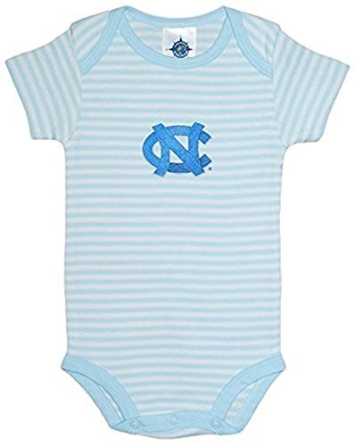 Creative Knitwear University of North Carolina Tar Heels Striped Newborn Baby Bodysuit,3-6 Months,Carolina Blue/White