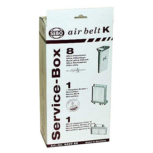 Air Sebo - Sebo Airbelt K2 Kombi & K3 Canister Vacuum Cleaner Service Box 8 Pk Genuine Part # 6695ER, 6695AM
