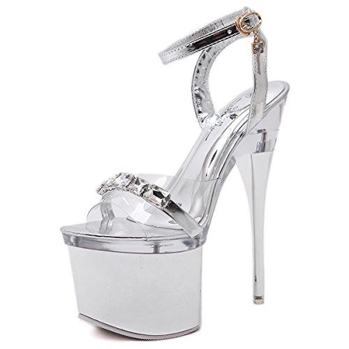 Sandales Transparent Le Avec Mesdames Modèle Argent 18 Chaussures Mince silver high Sandales Nuit En Ultra Xing De Cristal En Acier Lin Avec Des Talons Hauts À 14Cm18 De Mariage Danse Tuyau w4x5E68q